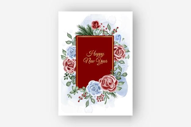 Quadro floral com fundo de ano novo de inverno tema rosa vermelho azul