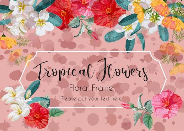 Quadro floral com ilustração de flor de hibisco, plumeria e starburst