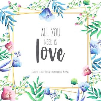 Quadro floral com mensagem de amor