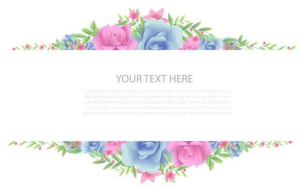 Quadro floral com modelo de texto