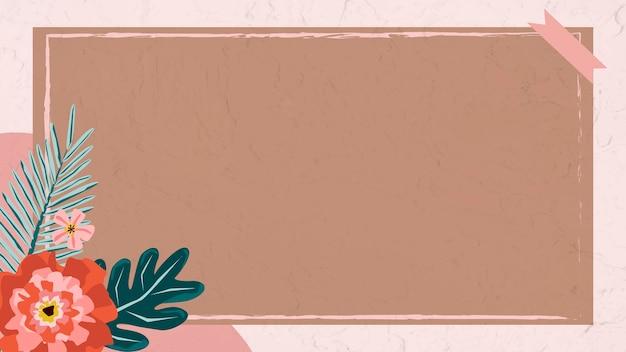 Quadro floral com vetor de fita washi