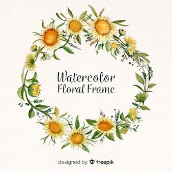 Quadro floral criativo em design aquarela