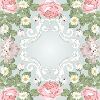 Quadro floral. crisântemos, chamomiles e rosas com elementos vintage gravados.