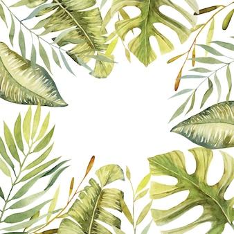 Quadro floral de aquarela plantas verdes tropicais e folhas
