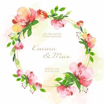 Quadro floral de cartão de convite de casamento