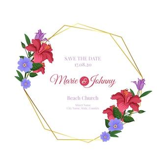 Quadro floral de casamento dourado com data e nomes