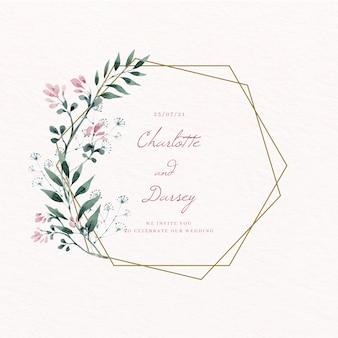 Quadro floral de casamento dourado salvar a data