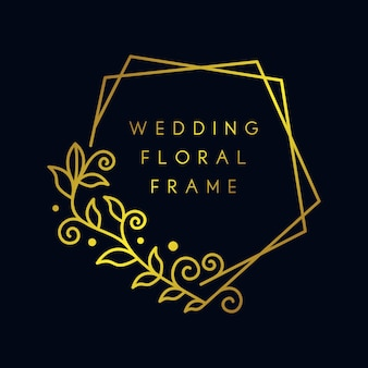Quadro floral de casamento dourado