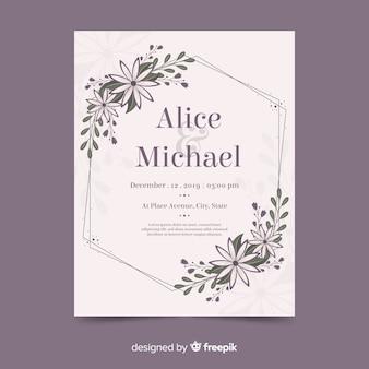Quadro floral de convite de casamento com design plano