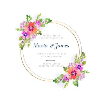 Quadro floral de convite de casamento