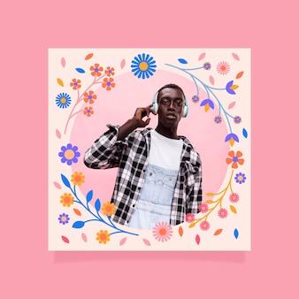 Quadro floral de design plano para facebook