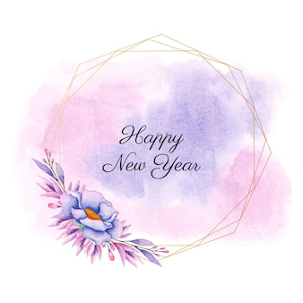Quadro floral de feliz ano novo em aquarela