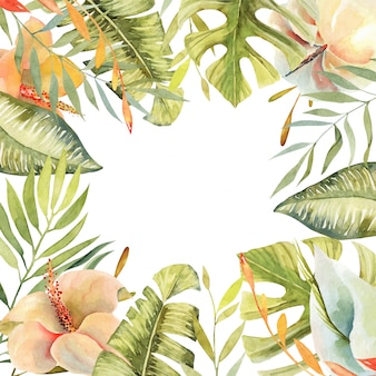 Quadro floral de flores de hibisco em aquarela, plantas verdes tropicais e folhas