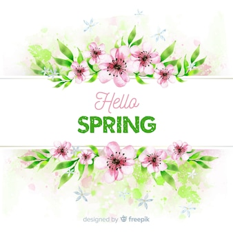 Quadro floral de primavera aquarela