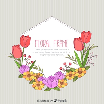 Quadro floral de primavera desenhada de mão