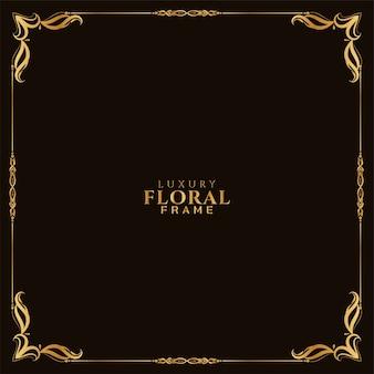 Quadro floral dourado elegante fundo clássico vector