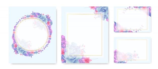 Quadro floral e conjunto de grinalda