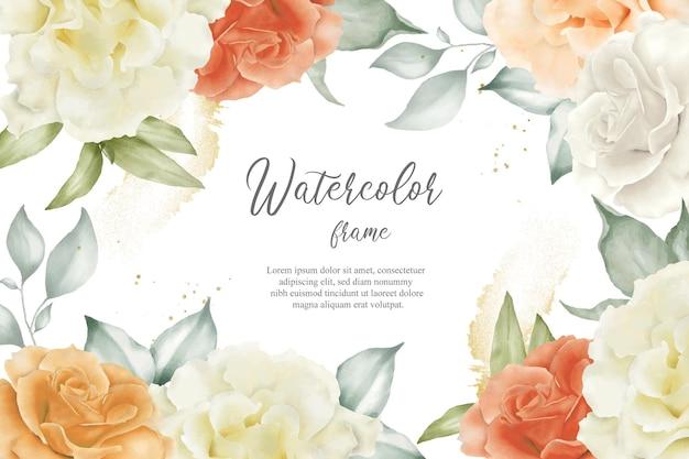 Quadro floral editável fundo flores ilustração arranjo floral grinalda floral