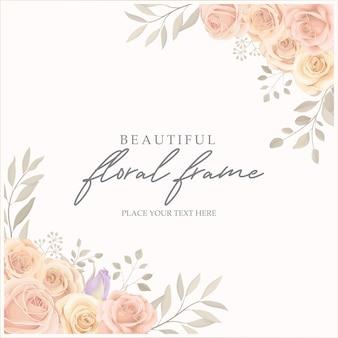 Quadro floral elegante com design de rosas desabrochando