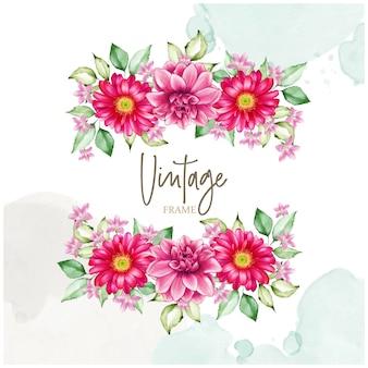 Quadro floral elegante com flores em aquarela