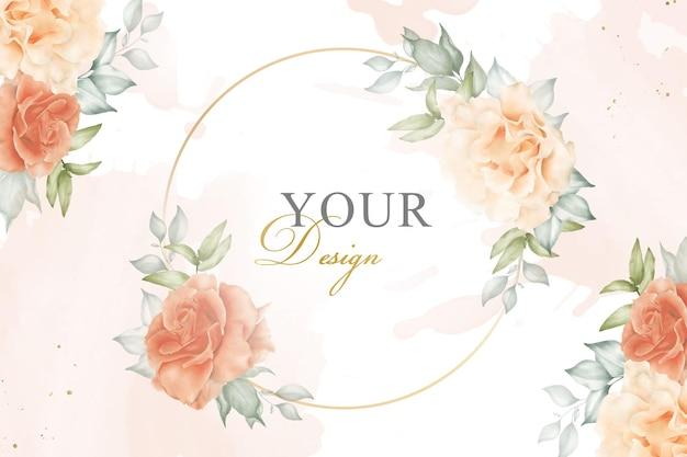 Quadro floral elegante fundo com aquarela e decoração floral. ilustração de flores