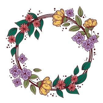 Quadro floral em flor de primavera desenhado à mão