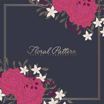 Quadro floral escuro de fronteira de flor rosa quente