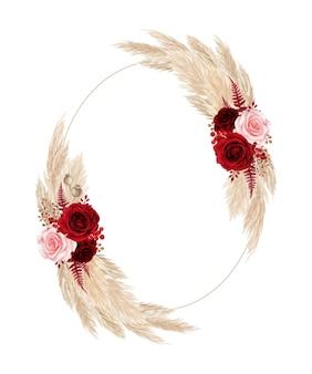 Quadro floral estilo boêmio com rosa vermelha e grama dos pampas