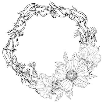 Quadro floral floral preto e branco brilhante com flores da magnólia.