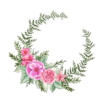 Quadro floral fofo feliz dia dos namorados Vetor Premium