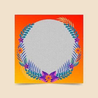 Quadro floral gradiente do facebook