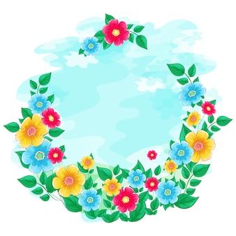 Quadro floral grinalda de céu azul aquarela