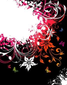 Quadro floral grunge com borboletas para design, ilustração vetorial