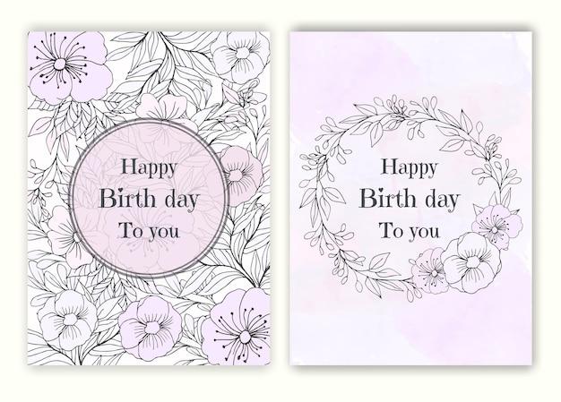 Quadro floral mão desenhada para um convite de dia de nascimento