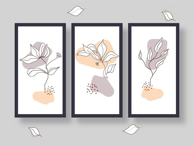 Quadro floral ou layout de modelo em três opções.