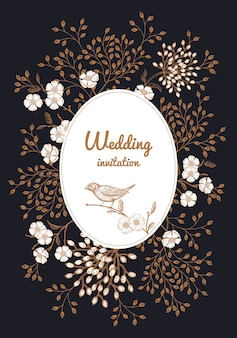 Quadro floral para convite de casamento Vetor Premium