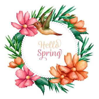 Quadro floral primavera aquarela com saudação