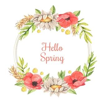Quadro floral primavera aquarela