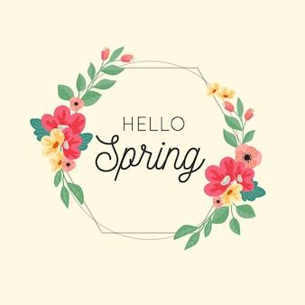 Quadro floral primavera com folhas e flores