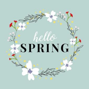 Quadro floral primavera desenhada de mão