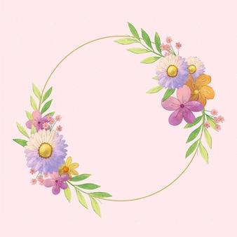 Quadro floral primavera em aquarela