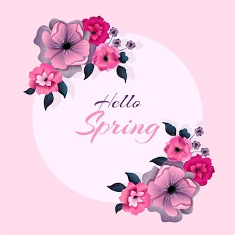 Quadro floral primavera plana detalhada