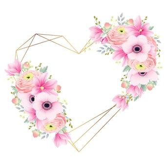 Quadro floral ranúnculo magnólia e anêmona flores