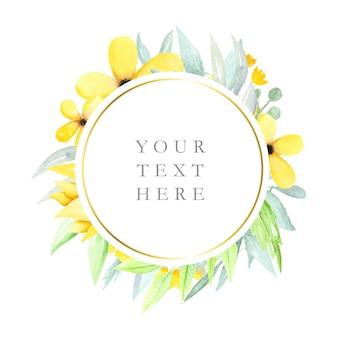 Quadro floral redondo com flores em aquarela e folhas Vetor Premium
