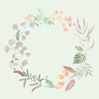 Quadro floral romântico de folhas em aquarela
