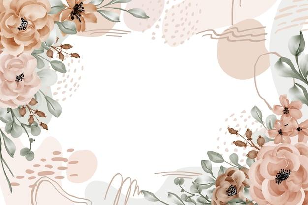 Quadro floral rosa deixa fundo com forma abstrata