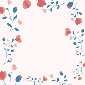 Quadro floral rosa fundo vetor estilo feminino