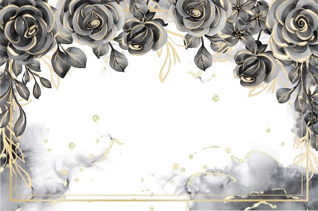 Quadro floral rosa preto e dourado com fundo aquarela e espaço em branco