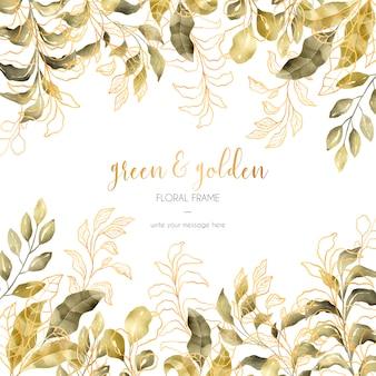 Quadro floral verde e dourado