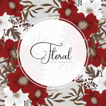 Quadro floral vermelho círculo vermelho e branco flores